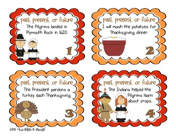 Thanksgiving Verb Tenses: Task Cards & Posters