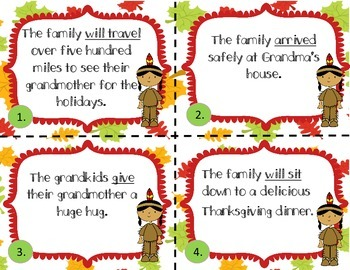 Thanksgiving Verb Tense Task Cards/Scoot