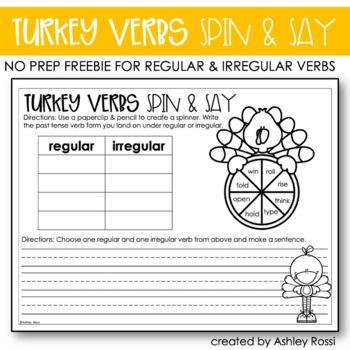 Thanksgiving Activities Verbs FREE