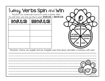 Thanksgiving Activities For Verbs FREE
