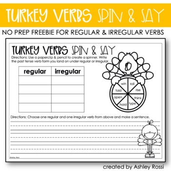 Thanksgiving Activities Verbs FREE
