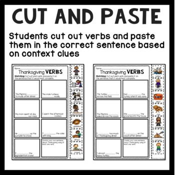 Thanksgiving Verbs Fill-in-the-Blank Matching and Creating Sentences Worksheet