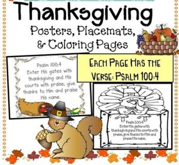 Thanksgiving Verse Placemats Posters Coloring Pages