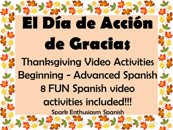 Thanksgiving Video Activities in Spanish for Beginning thr
