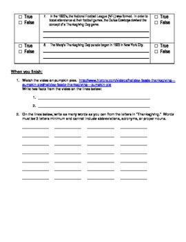 Thanksgiving VideoQuest WebQuest Student Activity Worksheet