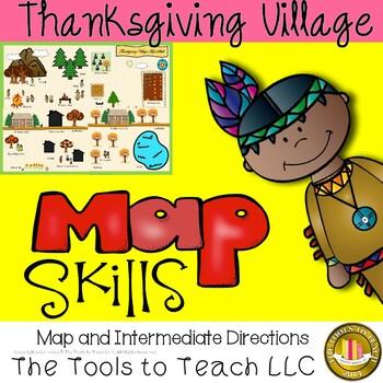 Thanksgiving Village Map Skills Social Studies Station Center Game