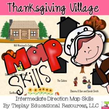 Thanksgiving Village Map Skills and Game Board Social Studies Station Center
