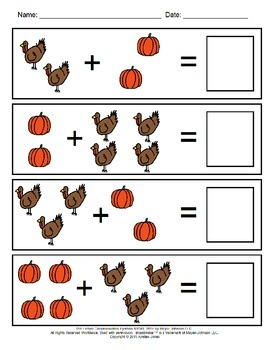 Thanksgiving Visual Addition Worksheets