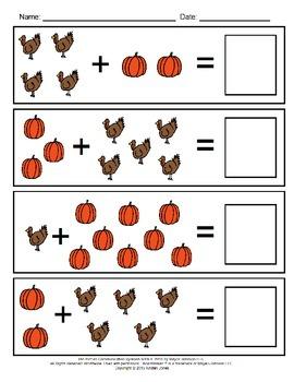 Thanksgiving Visual Addition Worksheets