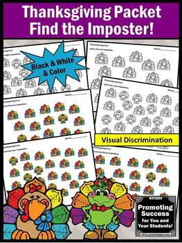 Thanksgiving Math Counting Visual Discrimination Number Words Worksheets