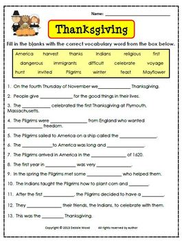 Thanksgiving:  Vocabulary and Grammar Review with Idiom
