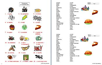 Spanish Thanksgiving Vocabulary 18 IDs and Word List