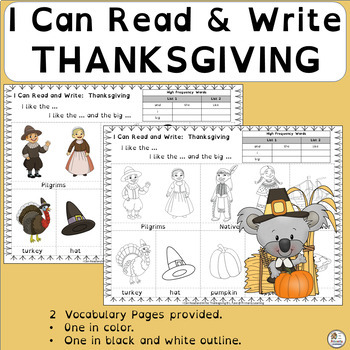 Emergent Readers: Thanksgiving Vocabulary