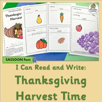 Emergent Readers: Thanksgiving Vocabulary Activities  (SASSOON Font)