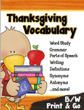 Thanksgiving Vocabulary Activities - PRINT & GO
