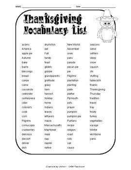 Thanksgiving Vocabulary Activities - PRINT & GO