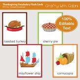Thanksgiving Vocabulary Card, Thanksgiving Editable Flash Card