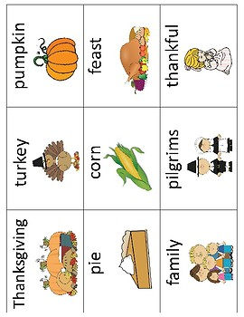 Thanksgiving Vocabulary Cards - Great for ESL/ENL