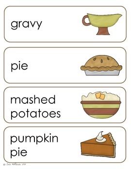 Thanksgiving Vocabulary Cards and Spelling Practice