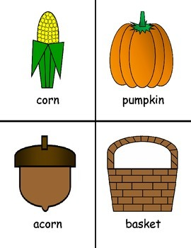 Thanksgiving Vocabulary Cards and Worksheets