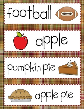 Thanksgiving Vocabulary Cards for Word Wall