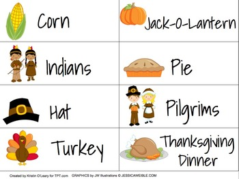 Thanksgiving Vocabulary Cards with Pictures