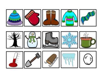 Winter Vocabulary Cariboo Cards