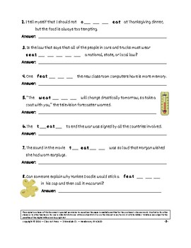 Vocabulary Activities: Thanksgiving with Words Spelled with EAT