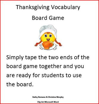 Thanksgiving Vocabulary Game Board Fun