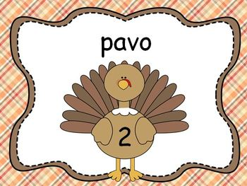 Thanksgiving Vocabulary: How Many Syllables? (SPANISH)