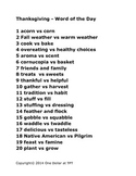 Thanksgiving Vocabulary List - Discuss with your students