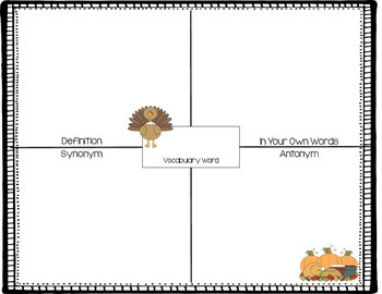 Thanksgiving Vocabulary Maps