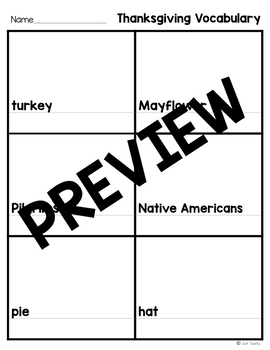 Thanksgiving Vocabulary Match and Write