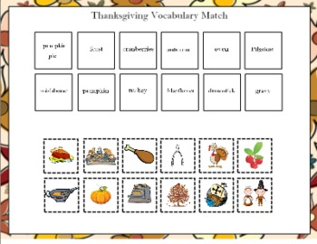 Thanksgiving Vocabulary Match for the Smart Board