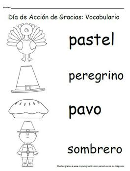 Thanksgiving Vocabulary Match-up: Basic (SPANISH)