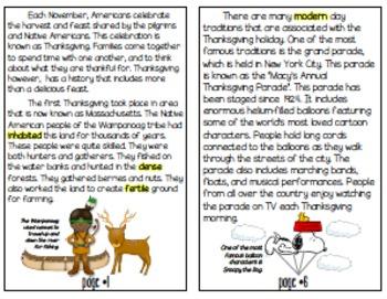 Thanksgiving Vocabulary Mini Book for BIG KIDS