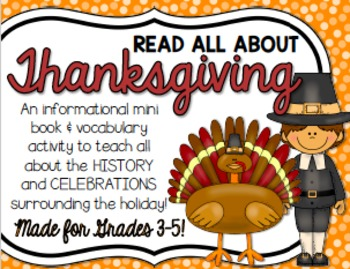 Thanksgiving Vocabulary Mini Book for BIG KIDS