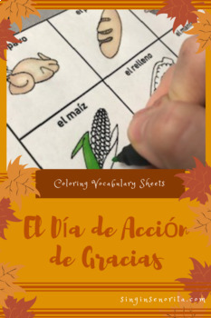 Thanksgiving Vocabulary Picture Cards & Coloring Page