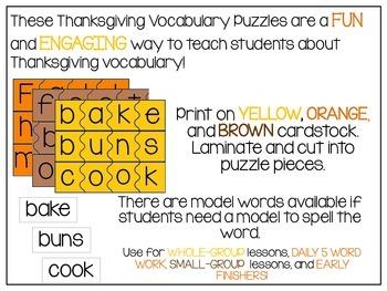 Thanksgiving Vocabulary Puzzes