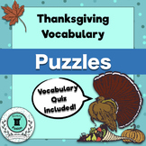 Thanksgiving Vocabulary Puzzles and Quiz Pack