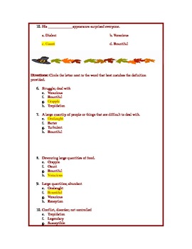 Thanksgiving Vocabulary Quiz and Short Story