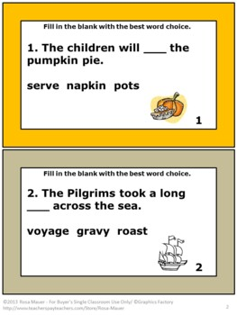 Thanksgiving Language Arts Fill-in-the Blank