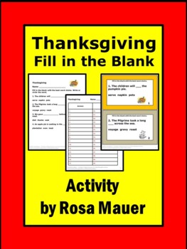 Thanksgiving Fill-in-the Blank