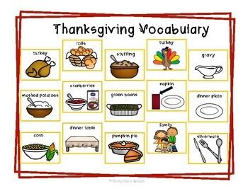 My Thanksgiving Plate Vocabulary Set