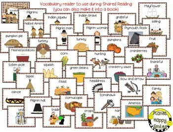 Thanksgiving Vocabulary Cards and Reader