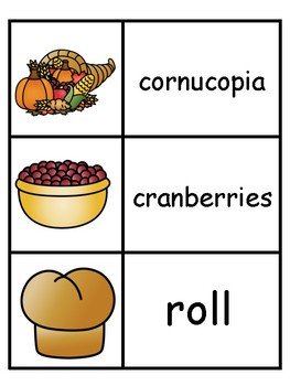 Thanksgiving Vocabulary Word Cards