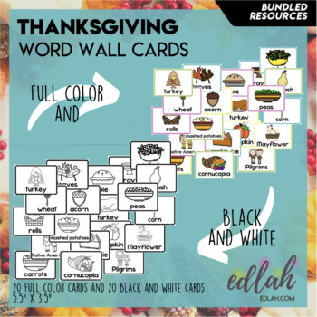Thanksgiving Vocabulary Word Wall Cards (set of 19) - BUNDLE