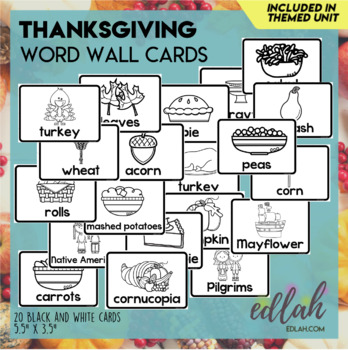 Thanksgiving Vocabulary Word Wall Cards (set of 19) - Black & White Version