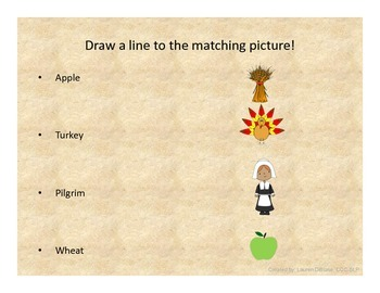 Thanksgiving Vocabulary Word/Picture Match!