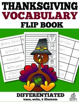 Thanksgiving Vocabulary Words Flip Book
